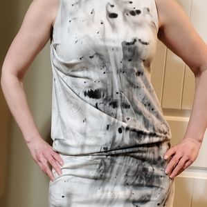 Grey and black tie dye dress.